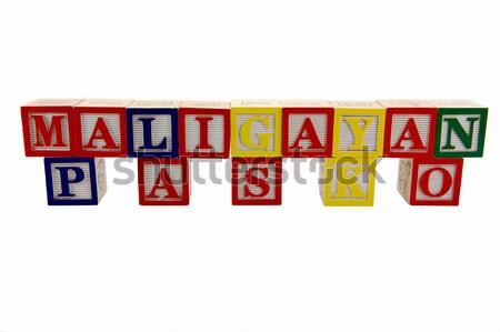 Valentijnsdag vintage stijl gekleurd hout alfabet Stockfoto © bobkeenan