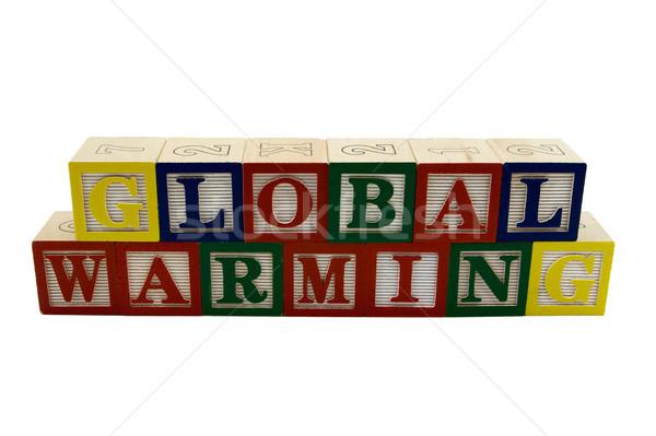 global warming wooden blocks Stock photo © bobkeenan