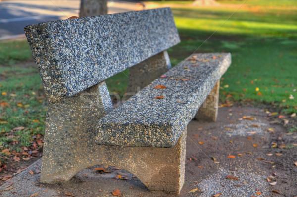 石 公園 ベンチ hdr 葉 緑の草 ストックフォト © bobkeenan