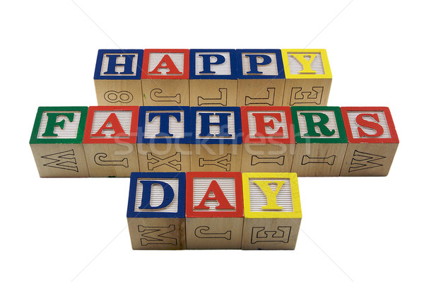 Wood Blocks Happy fathers day Stock photo © bobkeenan