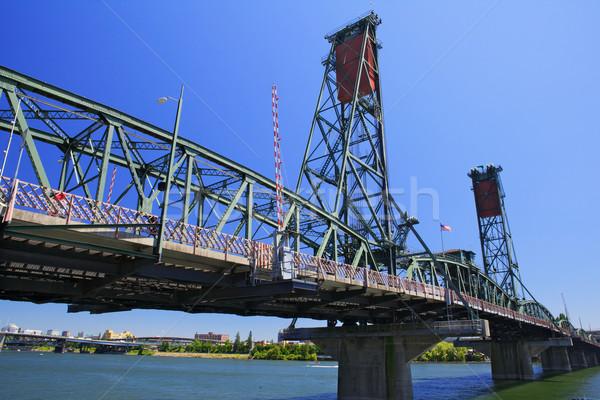 橋 古い 緑 赤 描画 深い ストックフォト © bobkeenan