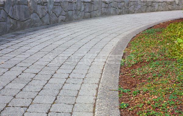 Foto stock: Pedra · caminho · stonewall · primavera · cidade · parede
