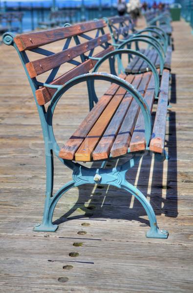 Pier wood metal benches Stock photo © bobkeenan