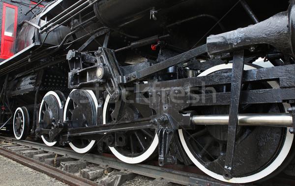 Oude stoomlocomotief trein zwarte wielen Stockfoto © bobkeenan