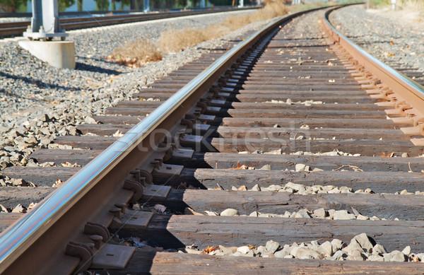 Chemin de fer suivre horizontal automne acier Photo stock © bobkeenan