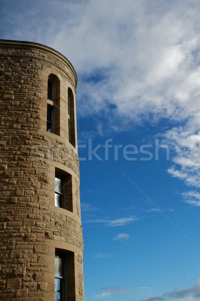 Pierre tour ciel bleu port bureau de poste nuages Photo stock © bobkeenan