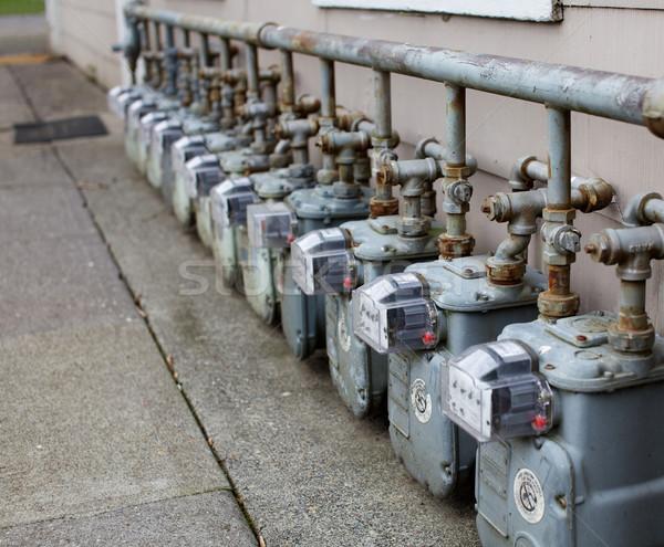 Single Row of gas meters Stock photo © bobkeenan