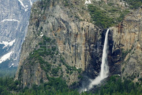 Yosemite menyasszonyi fátyol vízszintes völgyek adag Stock fotó © bobkeenan