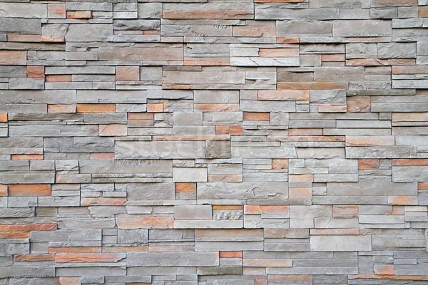 Vierkante stenen muur ver grijs bruin Rood Stockfoto © bobkeenan