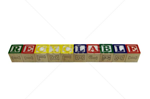 újrahasznosítható építőkockák játék ábécé kockák helyesírás Stock fotó © bobkeenan