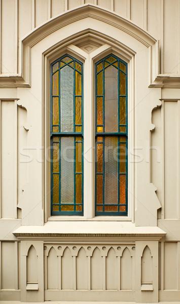 単純な 着色した 教会 ウィンドウ 琥珀 緑 ストックフォト © bobkeenan