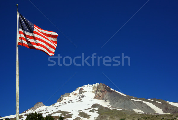 American Flag Mount Hood Stock photo © bobkeenan