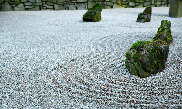 Zen tuin donkere dag mos gedekt Stockfoto © bobkeenan