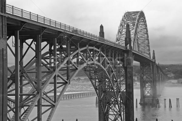 Mistig brug donkere hdr oceaan kant Stockfoto © bobkeenan