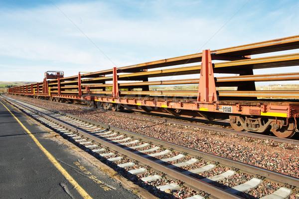 Stockfoto: Lang · trein · North · Dakota · lege · auto · oneindigheid
