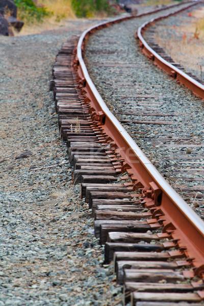 Single set of curved of Train Tracks Stock photo © bobkeenan