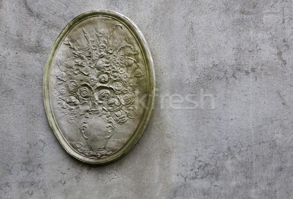 штукатурка цветок фасад стены стиль цветочный горшок Сток-фото © bobkeenan
