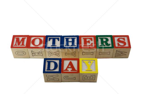 Alphabet blocs orthographe mères jour bois Photo stock © bobkeenan