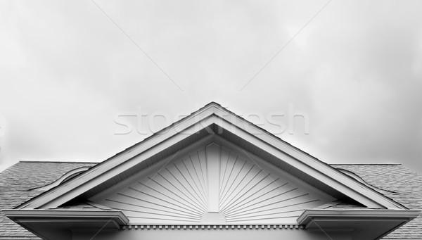 Bangalô casa telhado sol projeto preto e branco Foto stock © bobkeenan