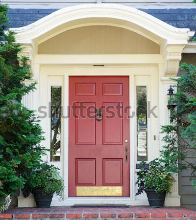Magenta ajtó fenyők otthon kettő örökzöld Stock fotó © bobkeenan