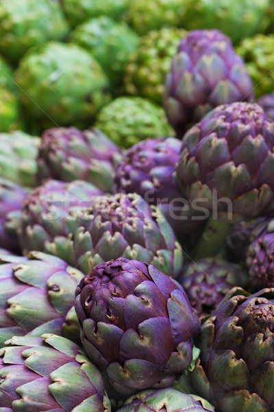 Pile of Italian Artichokes vertical Stock photo © bobkeenan