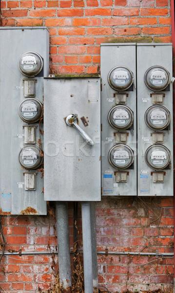 Eight old power meters Stock photo © bobkeenan