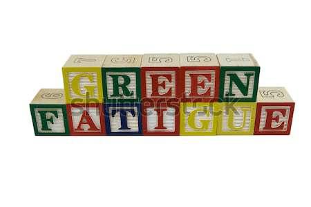 Yeşil yorgunluk oyuncak alfabe bloklar Stok fotoğraf © bobkeenan