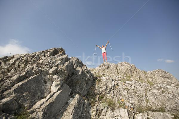 成功した 女性 ハイカー オープン 腕 ストックフォト © boggy
