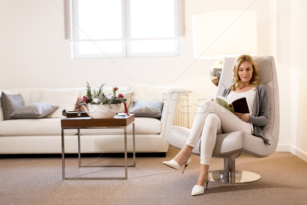 Woman reading a book and sitting on comfortable chair at home Stock photo © boggy