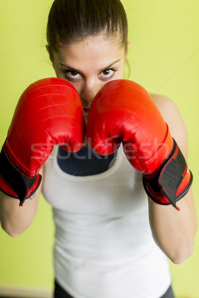Box nő sport vonat képzés női Stock fotó © boggy