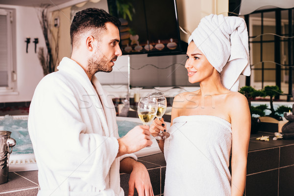 Young loving couple in spa center Stock photo © boggy
