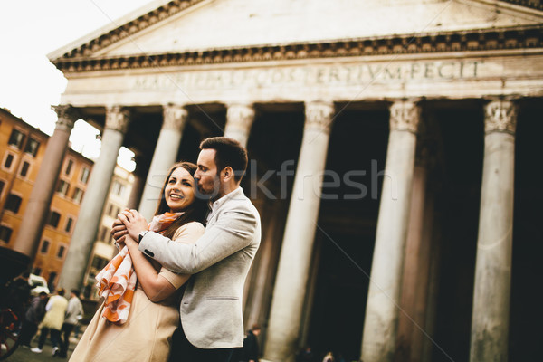 Loving couple in front of the Pantheon in Rome Stock photo © boggy