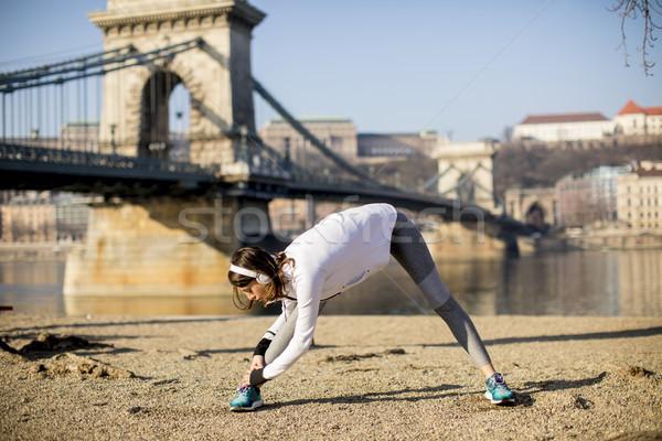 Mulher danúbio rio passeio público Foto stock © boggy