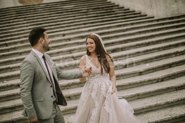 молодые свадьба пару испанский лестницы Рим Сток-фото © boggy