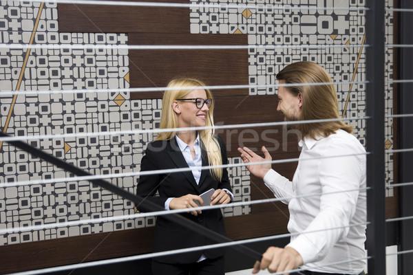 молодые деловые люди скалолазания вверх лестницы современных Сток-фото © boggy