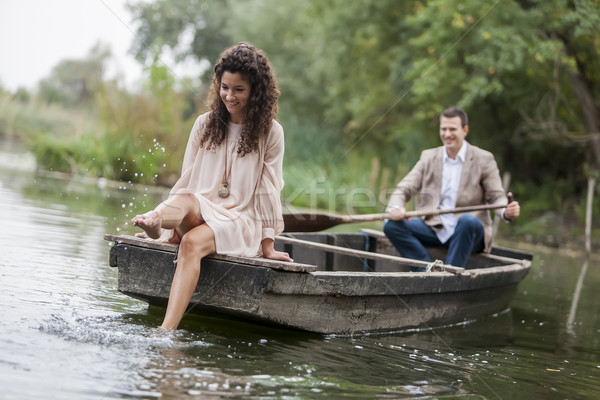Liefhebbend paar boot gelukkig schoonheid zomer Stockfoto © boggy