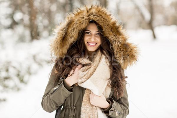 мех парка снега женщину девушки Сток-фото © boggy