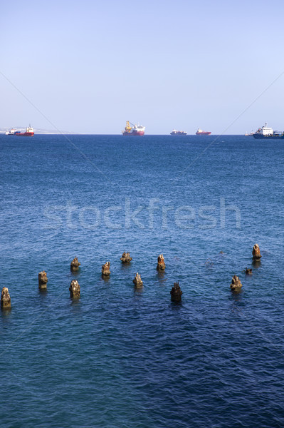Old wooden pillars in old port at Limassol, Cyprus Stock photo © boggy