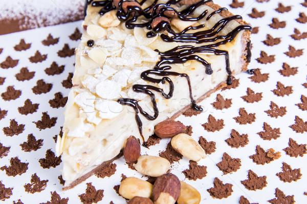 Mandula torta torta közelkép kilátás darab Stock fotó © boggy