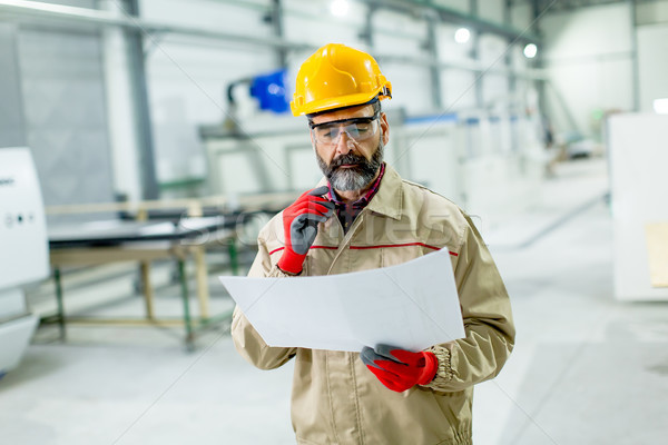 Handsome mature engineer looking at plan in the factory Stock photo © boggy