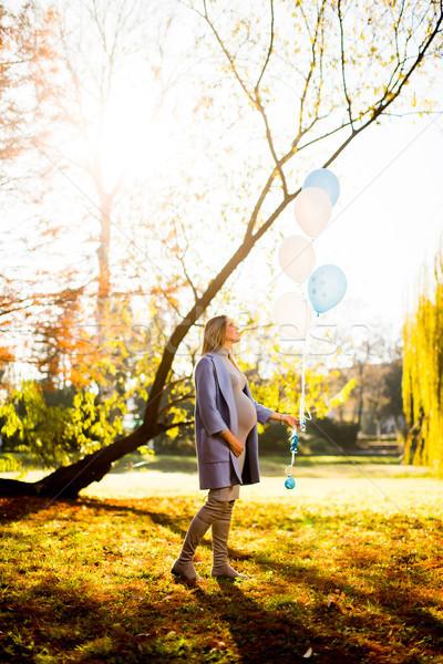 Foto stock: Mulher · grávida · balões · outono · parque · jovem · mão