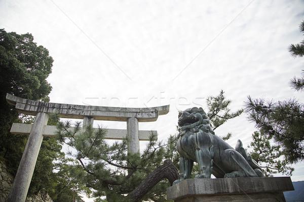 Guardião leão estátua ilha adorar japonês Foto stock © boggy