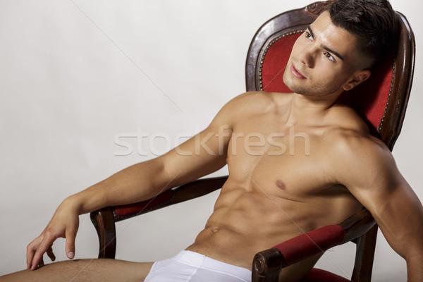 Joven hombre moda salud hombres silla Foto stock © boggy