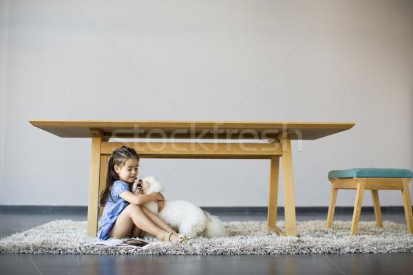 девочку играет белый пудель комнату собака Сток-фото © boggy