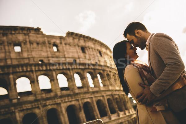 Seven çift colosseum Roma İtalya sevmek Stok fotoğraf © boggy
