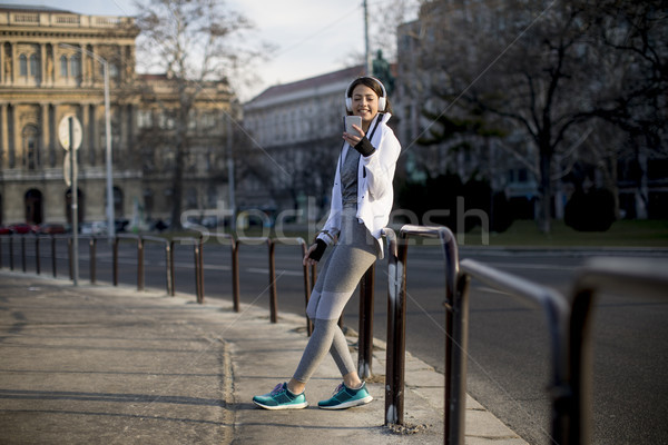 Foto stock: Bastante · mulher · jovem · quebrar · corrida · urbano · mulher