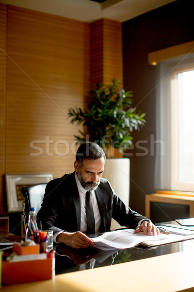 Handsome middle-aged businessman in modern office Stock photo © boggy