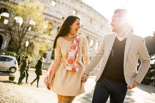 Kochający para Rzym Włochy Zdjęcia stock © boggy