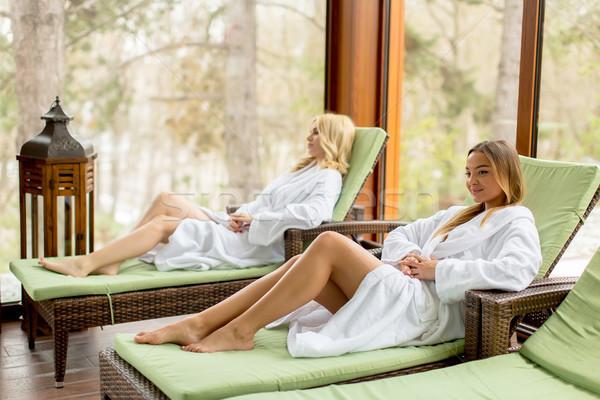 Stockfoto: Mooie · jonge · vrouwen · ontspannen · zwembad · winter