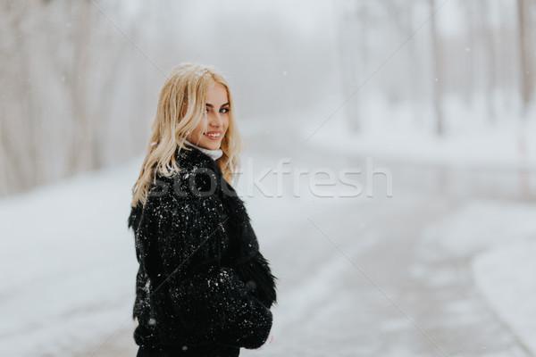 Foto stock: Bastante · jovem · mulher · loira · inverno · dia · menina